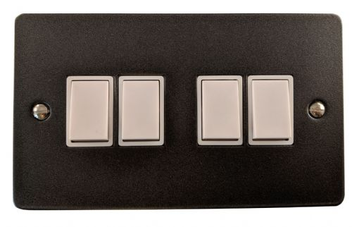 G&H FP4W Flat Plate Pewter 4 Gang 1 or 2 Way Rocker Light Switch